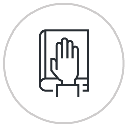 Hand on book icon